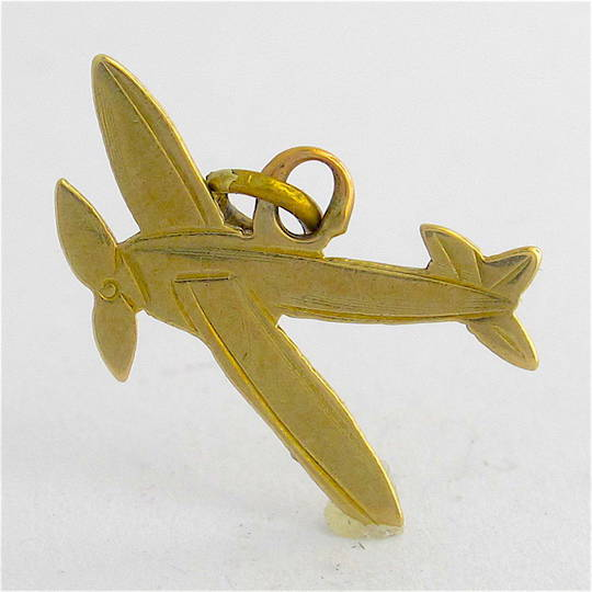 9ct yellow gold aeroplane charm
