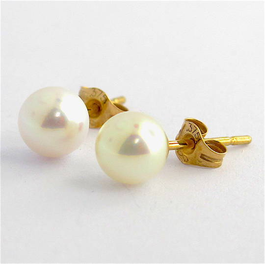 9ct yellow gold white Akoya pearl stud earrings