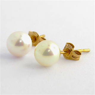9ct yellow gold white Akoya pearl stud earrings