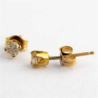 9ct yellow gold diamond solitaire stud earrings