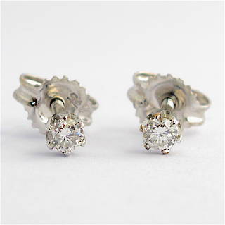 9ct rhodium plated over yellow gold diamond stud earrings with screw backs