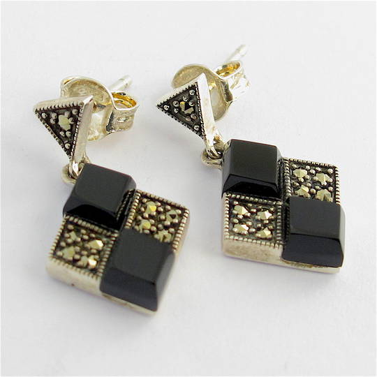 Sterling silver onyx and marcasite diamond shaped drop earrings