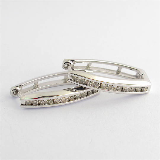 10ct white gold channel set diamond earrings