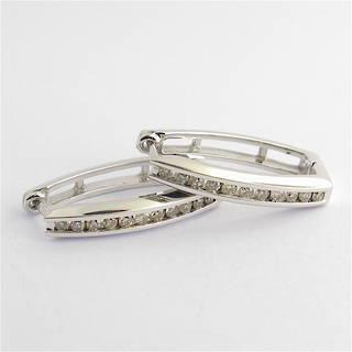 10ct white gold channel set diamond earrings