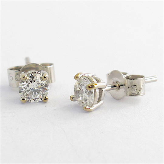 18ct white gold 0.54ct TDW diamond solitaire stud earrings