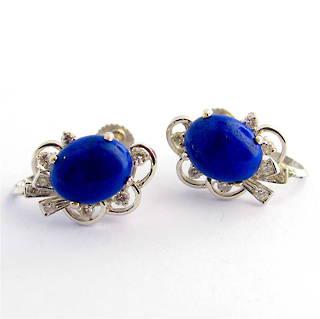 18ct white gold lapis lazuli & diamond 'screw on' earrings