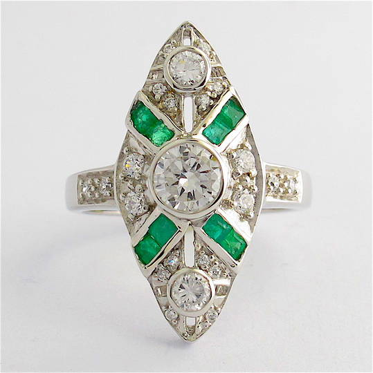 Sterling silver natural emerald and cubic zirconia ring