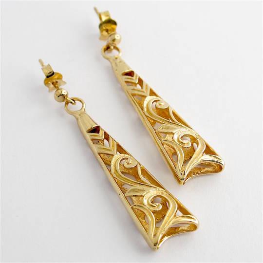 9ct yellow gold stud dangle earrings