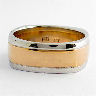 Gents 9ct rose and white gold square shape wedding ring