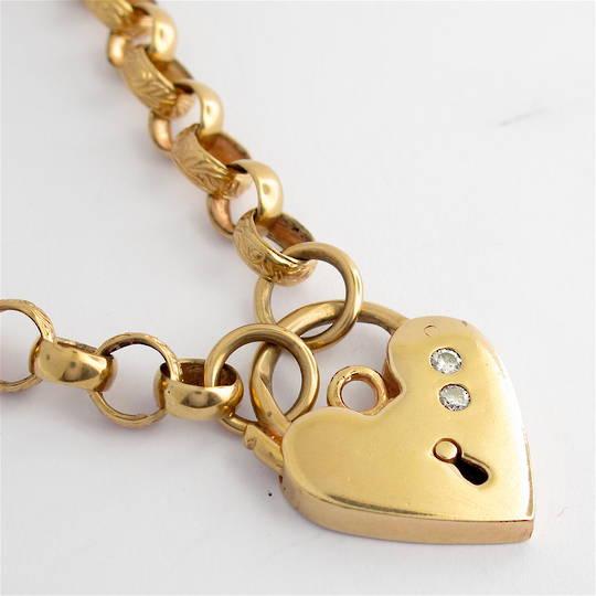 9ct rose gold vintage engraved belcher link necklace with heart padlock