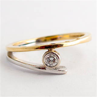 14ct yellow and white gold diamond dress ring