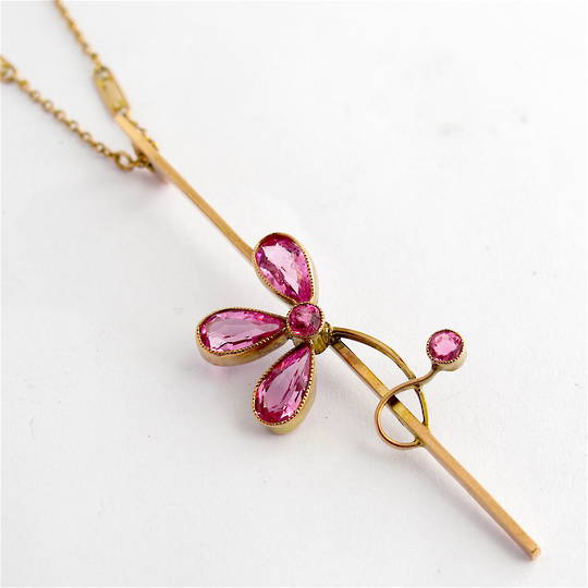 9ct rosey gold vintage pink tourmaline pendant and 9ct yellow gold chain