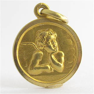 18ct yellow gold cherub charm