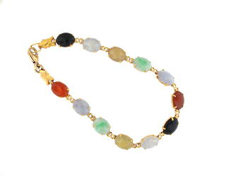 20ct yellow gold multi coloured jade bracelet