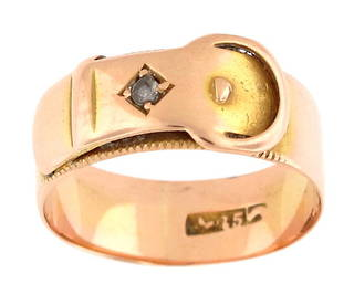 15ct rose gold buckle style diamond set ring
