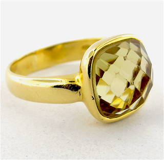 18ct yellow gold checkerboard cut citrine dress ring