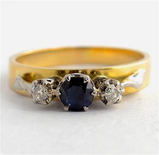 18ct yellow & white gold sapphire and diamond 3 stone ring
