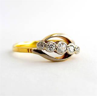 18ct yellow gold & platinum antique Old European cut five stone diamond ring