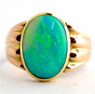 9ct rose gold solid semi-black opal ring