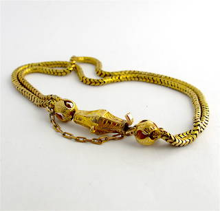 9ct yellow gold unique antique bracelet with safety chain