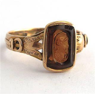 15ct yellow gold antique citrine ring