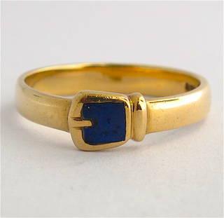 9ct yellow gold British Hallmarked buckle style lapis dress ring
