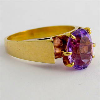 9ct yellow gold vintage amethyst ring