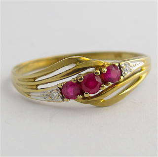 9ct yellow & white gold natural ruby and diamond set ring