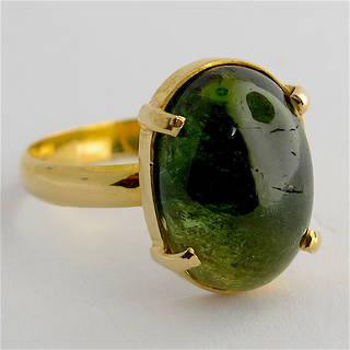 18ct yellow gold green tourmaline ring