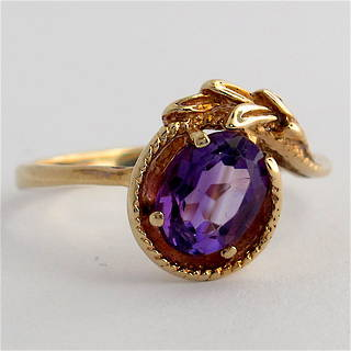 9ct yellow gold amethyst dress ring