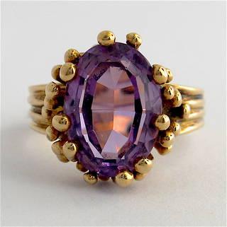 9ct yellow gold fancy amethyst set ring
