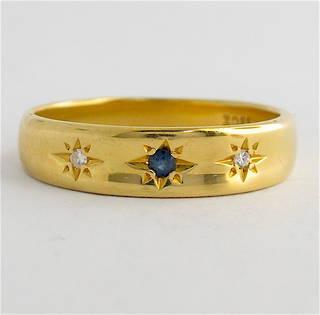 18ct yellow gold diamond and sapphire band