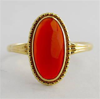 14ct yellow gold carnelian ring