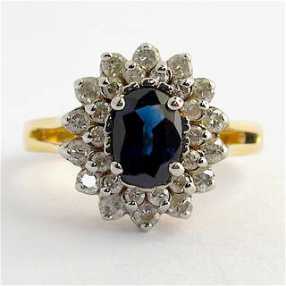 14ct yellow gold sapphire and diamond cluster ring