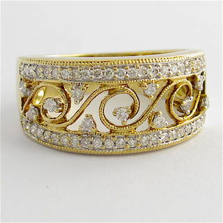 9ct yellow and white gold patterned open band multi diamond ring
