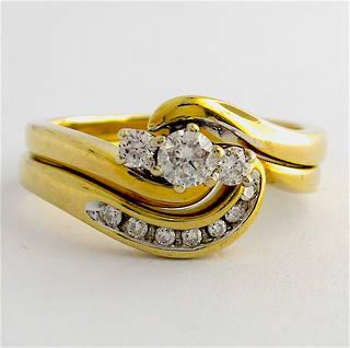 9ct yellow gold set of diamond rings