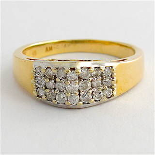 14ct yellow gold multi diamond ring