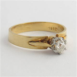 18ct yellow gold/platinum diamond solitaire ring