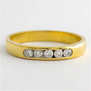 18ct yellow gold channel set diamond band