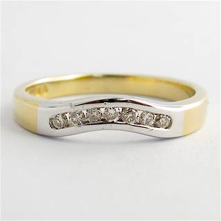 9ct yellow and white gold diamond curved wedding band