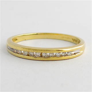 14ct yellow gold channel set diamond band