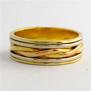 18ct tri-tonal gold wide band