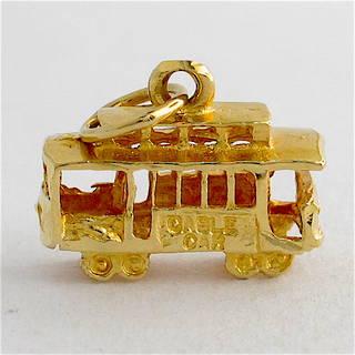 14ct yellow gold tram charm