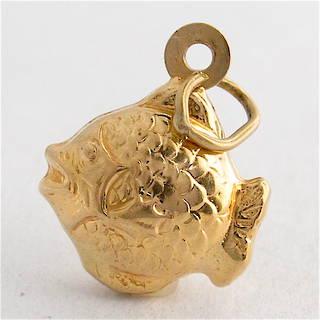 9ct yellow gold fish charm