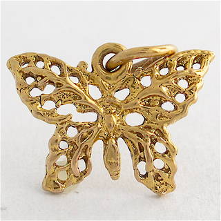 9ct yellow gold butterfly charm