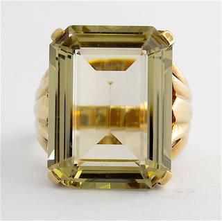 9ct yellow gold large smokey quartz dress ring