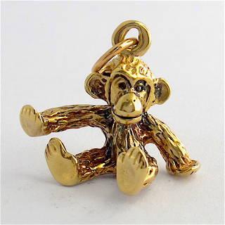 9ct yellow gold monkey charm