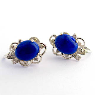 18ct white gold lapis lazuli & diamond 'screw on' earrings