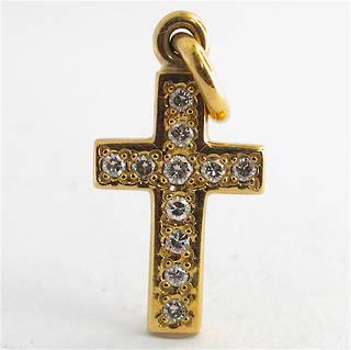 9ct yellow gold diamond cross charm