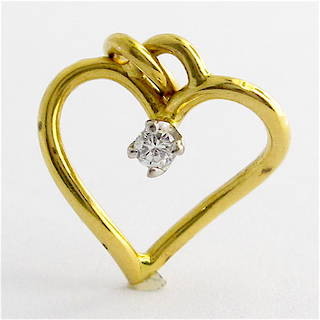 14ct yellow and white gold diamond heart charm